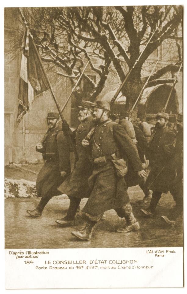 Collignon portant le drapeau du 46ème R.I.