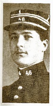 Le Lieutenant Pierre Monnier du 46ème Régiment d'Infanterie, tué au combat le 8 janvier 1915 au ravin des Meurissons à l'âge de 23 ans