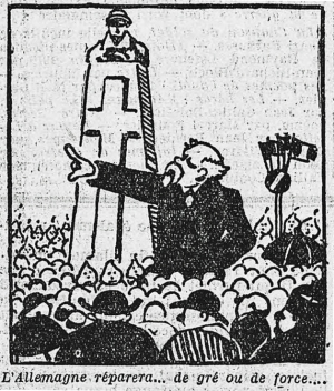 Caricature de Poincaré prononçant son discours à la Haute Chevauchée - L'Humanité du 1er août 1922